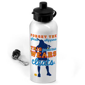 Softball 20 oz. Stainless Steel Water Bottle Forget The Glass Slippers This Princess Wears Cleats