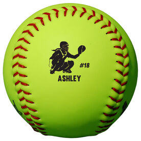 Personalized Softball - Catcher With Name And Number