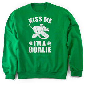 Hockey Crew Neck Sweatshirt - Kiss Me I'm A Goalie