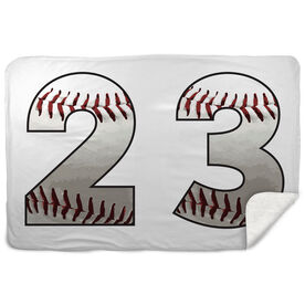 Baseball Sherpa Fleece Blanket Custom Baseball Numbers