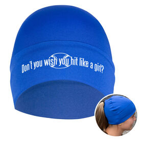 Performance Ponytail Cuff Hat Don't You Wish You Hit Like A Girl with Ball
