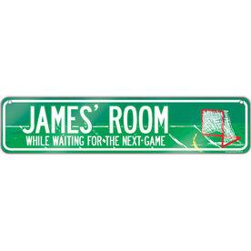 "Guys Lacrosse Aluminum Room Sign Personalized Lacrosse Room (4""x18"")"