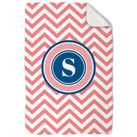 General Sports Sherpa Fleece Blanket Single Letter Monogram with Chevron