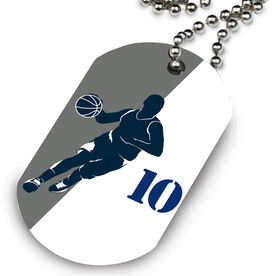 Basketball Printed Dog Tag Necklace Personalized Basketball Player Silhouette Guy