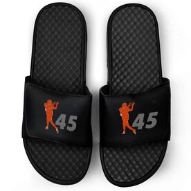 Football Black Slide Sandals - Silhouette with Number