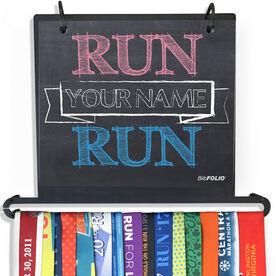 BibFOLIO Plus Race Bib and Medal Display Chalkboard Run Your Name Run