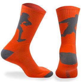 Guys Lacrosse Woven Mid Calf Socks - Player (Neon Orange/Gray)