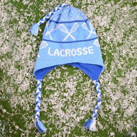 Fleece Lined Knit LACROSSE Hat Light Blue/Navy