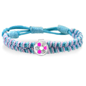 Pink Soccer Ball Rhinestone Adjustable Woven SportSNAPS Bracelet