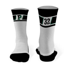 Mid-Calf Socks - Pentucket Youth Lacrosse Logo with Pattern (Black)