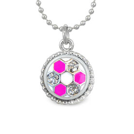 Pink Soccer Ball Rhinestone SportSNAPS Necklace