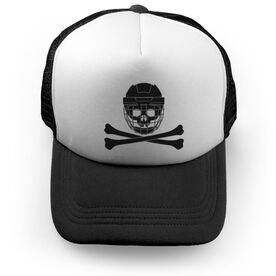 Hockey Trucker Hat Helmet Crossbones