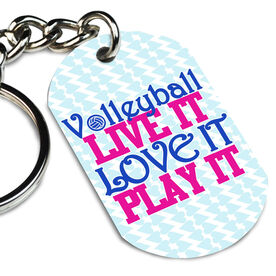Volleyball Printed Dog Tag Keychain Volleyball Live It Love It Play It