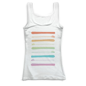 Skiing Vintage Fitted Tank Top - Ski Poles