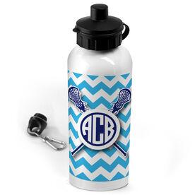 Lacrosse 20 oz. Stainless Steel Water Bottle Monogrammed Chevron Pattern With Crossed Sticks