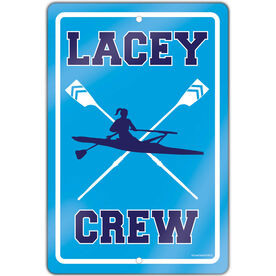 "Crew 18"" X 12"" Aluminum Room Sign Personalized Crew Sign Girl"