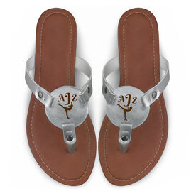 Figure Skating Engraved Thong Sandal Silhouette with Monogram