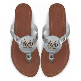 Hockey Engraved Thong Sandal Crossed Sticks with Your Initials