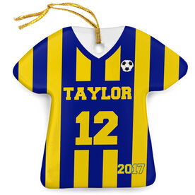 Soccer Porcelain Ornament Personalized Stripes Jersey