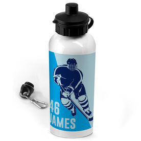 Hockey 20 oz. Stainless Steel Water Bottle Personalized Guys Hockey Player Silhouette