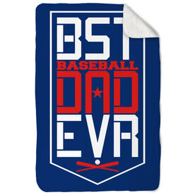 Baseball Sherpa Fleece Blanket - Best Dad Ever Shield
