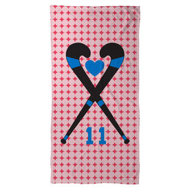 Field Hockey Beach Towel Personalized Crossed Sticks Heart Dots