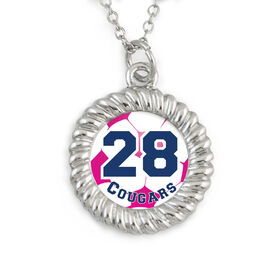 Braided Circle Necklace Soccer Graphic Team Name and Number
