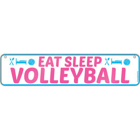 "Volleyball Aluminum Room Sign Eat Sleep Volleyball (4""x18"")"