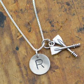 "Sterling Silver Hand Stamped .5"" Block Initial Charm and Sterling Silver Crew Crossed Oars Necklace"