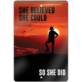 "Soccer 18"" X 12"" Aluminum Room Sign She Believed She Could So She Did"