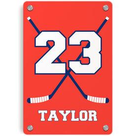 Hockey Metal Wall Art Panel - Personalized Hockey Crossed Sticks