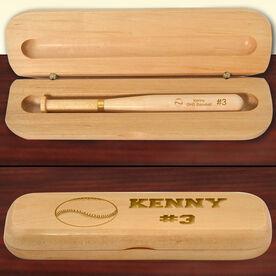 Personalized Baseball/SoftballBall Wood Bat Pen and Case