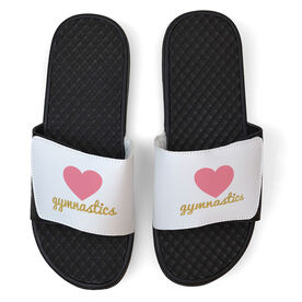 Gymnastics White Slide Sandals - Heart with Glitter Gymnastics
