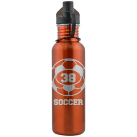 Soccer Ball and Player Number 24 oz Stainless Steel Water Bottle