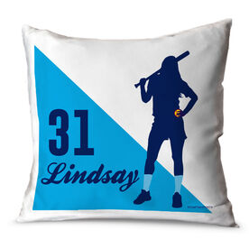 Softball Throw Pillow Personalized Softball Player Silhouette