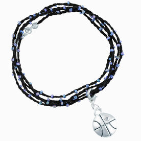 Basketball Beaded Wrap Bracelet - Silver Basketball