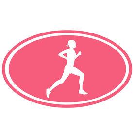 Running Girl Silhouette Oval Running Decal