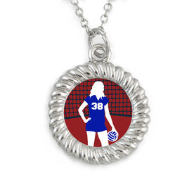 Braided Circle Necklace Volleyball Player and Number