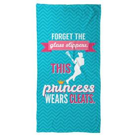 Girls Lacrosse Beach Towel This Princess Wears Cleats
