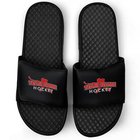 Hockey Black Slide Sandals - Your Team Name