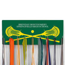 Guys Lacrosse Hooked on Medals Hanger - Personalized Text With Crossed Sticks