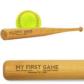 Softball Mini Engraved Bat My First Game