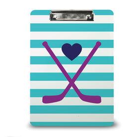 Hockey Custom Clipboard Hockey Sticks with Stripes and Heart