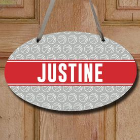 Basketball Oval Room Sign Personalized Basketball Pattern