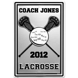 """Personalized Lacrosse COACH Stick and Ball Aluminum Room Sign (18"""" X 12"""")"""