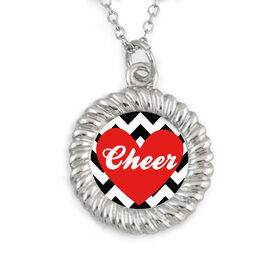 Braided Circle Necklace Cheer Heart