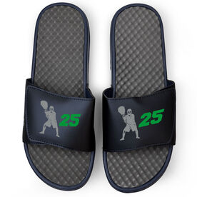 Lacrosse Navy Slide Sandals - Goalie With Number