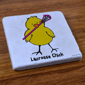 Lacrosse Chick - Natural Stone Coaster