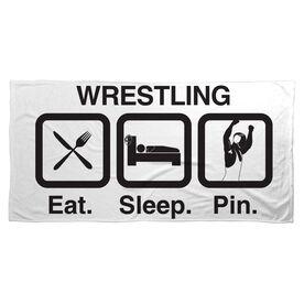 Wrestling Beach Towel Eat Sleep Pin