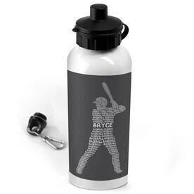 Baseball 20 oz. Stainless Steel Water Bottle Personalized Baseball Words Batter